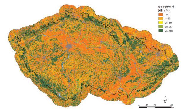 Výstup habitatového modelu rysa ostrovida.