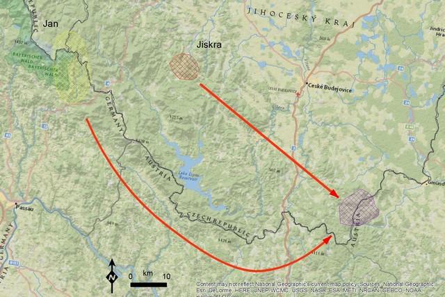 Na mapě je vidět, kde se Jiskra a Jan narodili a kde se našli. Zdroj: ALKA Wildlife.